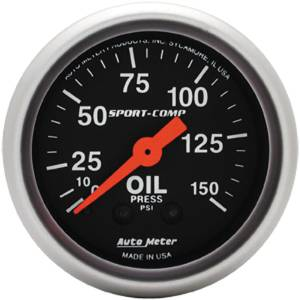 "Instrument Gauges - Auto Meter Sport Comp Series 2-1/16"" Oil Pressure Gauge. Mechanical 0-150 Psi., Full Sweep Photo Main"