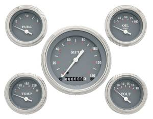 Instrument Gauges - (5 Gauge Set) - Silver-Grey Series With Curved Lens 12v Photo Main
