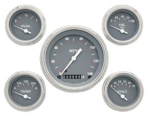 Instrument Gauges - (5 Gauge Set) - Silver-Grey Series With Flat Lens 12v Photo Main