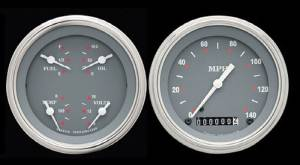 Instrument Gauges - (2 Gauge Set) - Silver-Grey Series With Curved Lens 12v Photo Main