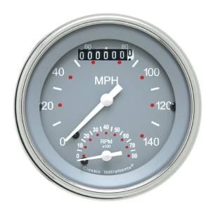 "Instrument Gauges - Ultimate Speedometer (3-3/8"") Speedo Tach Combo - Silver-Grey Series With Flat Lens 12v Photo Main"