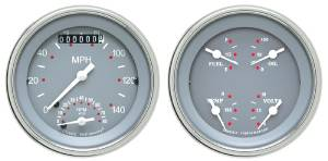 "Instrument Gauges - Ultimate Speedometer (3-3/8"") Speedo Tach Combo With Quad Gauge - Silver-Grey Series With Curved Lens 12v Photo Main"