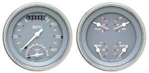 "Instrument Gauges - Ultimate Speedometer (3-3/8"") Speedo Tach Combo With Quad Gauge - Silver-Grey Series With Flat Lens 12v Photo Main"