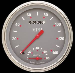 Instrument Gauges - Speedtachular Speedo Tach Combo - Silver-Grey Series With Flat Lens 12v Photo Main