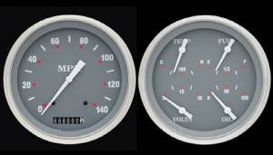 "Instrument Gauges - 5"" Speedo & Quad-Cluster - Silver-Grey Series With Flat Lens 12v Photo Main"