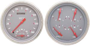 Instrument Gauges - Speedtachular Speedo Tach Combo With Quad Gauge - Silver-Grey Series With Curved Lens 12v Photo Main