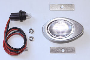 Interior Light, Universal With Satin Finish Billet Bezel. Clear Lens Photo Main