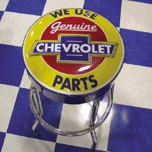 Chevy Parts 187 Bar Stool With Chevrolet Parts Logo Swivel