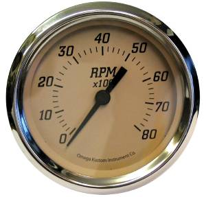 "Instrument Gauges - 5"" Tach, Tan Face Photo Main"