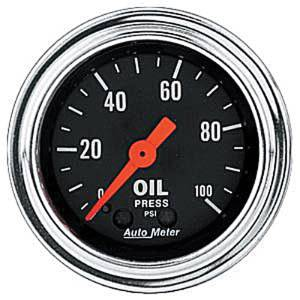 "Instrument Gauges - Auto Meter Traditional Chrome Series 2-1/16"" Oil Pressure Gauge. Mechanical 0-100 Psi., Full Sweep Photo Main"