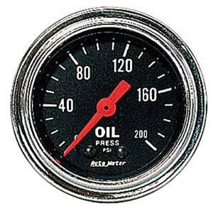 "Instrument Gauges - Auto Meter Traditional Chrome Series 2-1/16"" Oil Pressure Gauge. Mechanical 0-200 Psi., Full Sweep Photo Main"