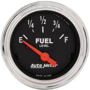 "Instrument Gauges - Auto Meter Traditional Chrome Series 2-1/16"" Fuel Level Gauge. Electric 0-30 Ohm., Short Sweep Photo Main"