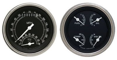 "Instrument Gauges - Ultimate Speedometer (3-3/8"") Speedo Tach Combo With Quad Gauge - Traditional Series With Flat Lens 12v Photo Main"