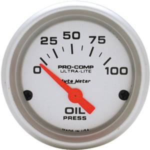 "Instrument Gauges - Auto Meter Ultra Lite Series 2-1/16"" Oil Pressure Gauge. Electric 0-100 Psi., Short Sweep Photo Main"