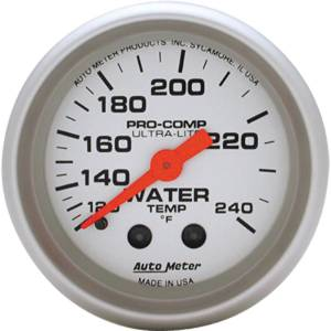 "Instrument Gauges - Auto Meter Ultra Lite Series 2-1/16"" Temp Gauge. Mechanical 120-240 Deg., Full Sweep (12 Ft. Tubing) Photo Main"