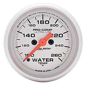 "Instrument Gauges - Auto Meter Ultra Lite Series 2-1/16"" Temp Gauge. Electric 100-260 Deg., Full Sweep Photo Main"