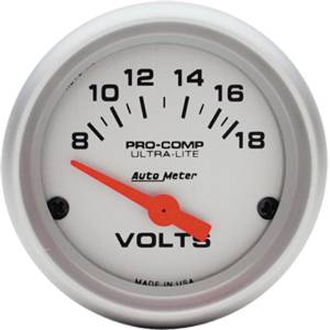 "Instrument Gauges - Auto Meter Ultra Lite Series 2-1/16"" Votage Gauge. Electric 8-18 Volts, Short Sweep Photo Main"
