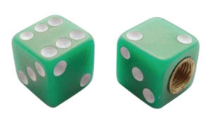 Dice Valve Stem Caps - Green With White Dots Photo Main