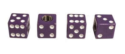 Dice Valve Stem Caps - Purple With White Dots Photo Main