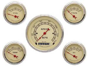 Instrument Gauges - (5 Gauge Set) - Vintage Series With Flat Lens 12v Photo Main