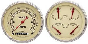 "Instrument Gauges - (2 Gauge Set) - Vintage Series With Flat Lens 12v  3-3/8"" Photo Main"