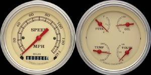 "Instrument Gauges - Ultimate Speedometer (3-3/8"") Speedo Tach Combo With Quad Gauge - Vintage Series With Curved Lens 12v Photo Main"