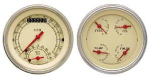 "Instrument Gauges - Ultimate Speedometer (3-3/8"") Speedo Tach Combo With Quad Gauge - Vintage Series With Flat Lens 12v Photo Main"