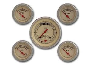 "Instrument Gauges - Ultimate Speedometer (3-3/8"") Speedo Tach Combo With 4 Gauges - Vintage Series With Flat Lens 12v Photo Main"