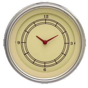 "Instrument Gauges - Clock With Reset Button - Vintage Series - Curved Lens (3-3/8"" Dia.) 12v Photo Main"
