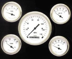 Instrument Gauges - (5 Gauge Set) - White Hot Series With Flat Lens 12v Photo Main