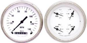 Instrument Gauges - (2 Gauge Set) - White Hot Series With Curved Lens 12v Photo Main