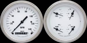 "Instrument Gauges - Ultimate Speedometer (3-3/8"") Speedo Tach Combo With Quad Gauge - White Hot Series With Curved Lens 12v Photo Main"