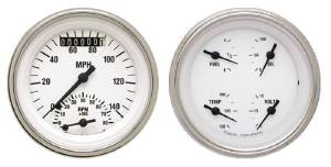 "Instrument Gauges - Ultimate Speedometer (3-3/8"") Speedo Tach Combo With Quad Gauge - White Hot Series With Flat Lens 12v Photo Main"