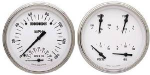 Instrument Gauges - Speedtachular Speedo Tach Combo With Quad Gauge - White Hot Series With Curved Lens 12v Photo Main