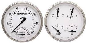 Instrument Gauges - Speedtachular Speedo Tach Combo With Quad Gauge - White Hot Series With Flat Lens 12v Photo Main