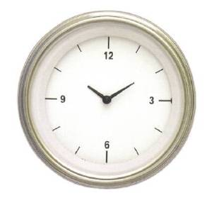 "Instrument Gauges - Clock With Reset Button - White Hot Series - Curved Lens (3-3/8"" Dia.) 12v Photo Main"