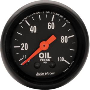"Instrument Gauges - Auto Meter Z Series 2-1/16"" Oil Pressure Gauge. Mechanical 0-100 Psi., Full Sweep Photo Main"