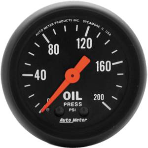 "Instrument Gauges - Auto Meter Z Series 2-1/16"" Oil Pressure Gauge. Mechanical 0-200 Psi., Full Sweep Photo Main"