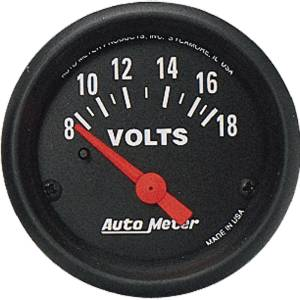 "Instrument Gauges - Auto Meter Z Series 2-1/16"" Voltage Gauge. Electric 8-18 Volts, Short Sweep Photo Main"