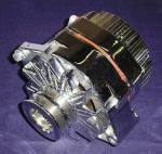 Chevrolet Parts -  Alternator - Show Chrome. 6v, 60 Amp. 7.5 Volt Internally Regulated With 2 Groove Pulley