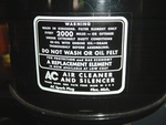 Chevrolet Parts -  Decal - Air Cleaner, Oil Bath