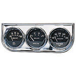 "Parts -  Instrument Gauges - Auto Meter Autogage Series. 2-1/16"" Black Face, Chrome Panel 3-Gauge Set: Oil, Volts (10-16) & Temp (130-280). Mechanical"