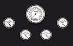 Parts -  Instrument Gauges - (5 Gauge Set) - Classic White Series With Flat Lens 12v