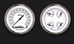 Parts -  Instrument Gauges - (2 Gauge Set) - Classic White Series With Flat Lens 12v