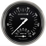Parts -  Instrument Gauges - Speedtachular Speedo Tach Combo - Hot Rod Series With Flat Lens (Black Face) 12v