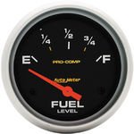 "Parts -  Instrument Gauges - Auto Meter Pro Comp Series 2-5/8"" Fuel Level Gauge. Electric 0-90 Ohm., Short Sweep"