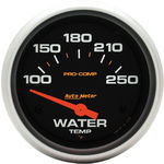"Parts -  Instrument Gauges - Auto Meter Pro Comp Series 2-5/8"" Temp Gauge. Electric 100-250 Deg., Short Sweep"
