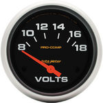 "Parts -  Instrument Gauges - Auto Meter Pro Comp Series 2-5/8"" Voltage Gauge. Electric 8-18 Volts, Short Sweep"