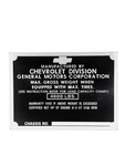 Chevrolet Parts -  Data Plate (Metal) Right Side Of Cowl, 1/2 Ton