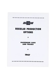 Chevrolet Parts -  Option Booklet - (RPO) Regular Production Options